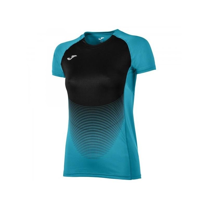 Camiseta Elite Vi Turquesa-Negro M/c Mujer